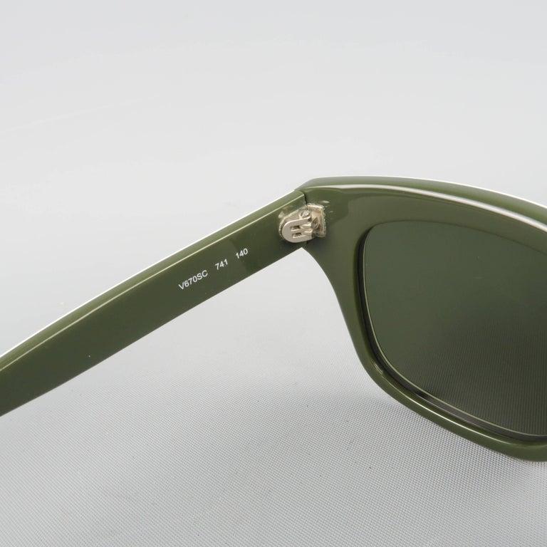 VALENTINO Olive & Lime Green Camouflage Acetate Rockstud Wayfarer Sunglasses For Sale 4