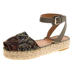 Valentino Olive Embroidered And Leather Ankle Strap Espadrille Sandals Size 40