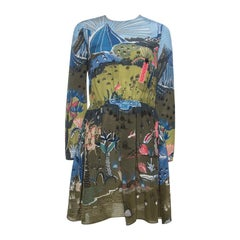 Valentino Olive Green Jungle Of Delight Print Silk Dress S