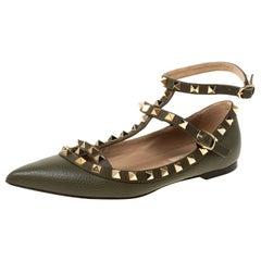 Valentino Olive Green Leather Rockstud Ankle Strap Ballet flats Size 35.5