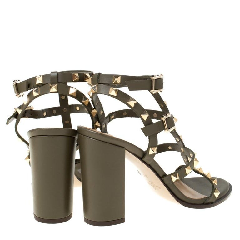 Brown Valentino Olive Green Leather Rockstud Caged Sandals Size 37