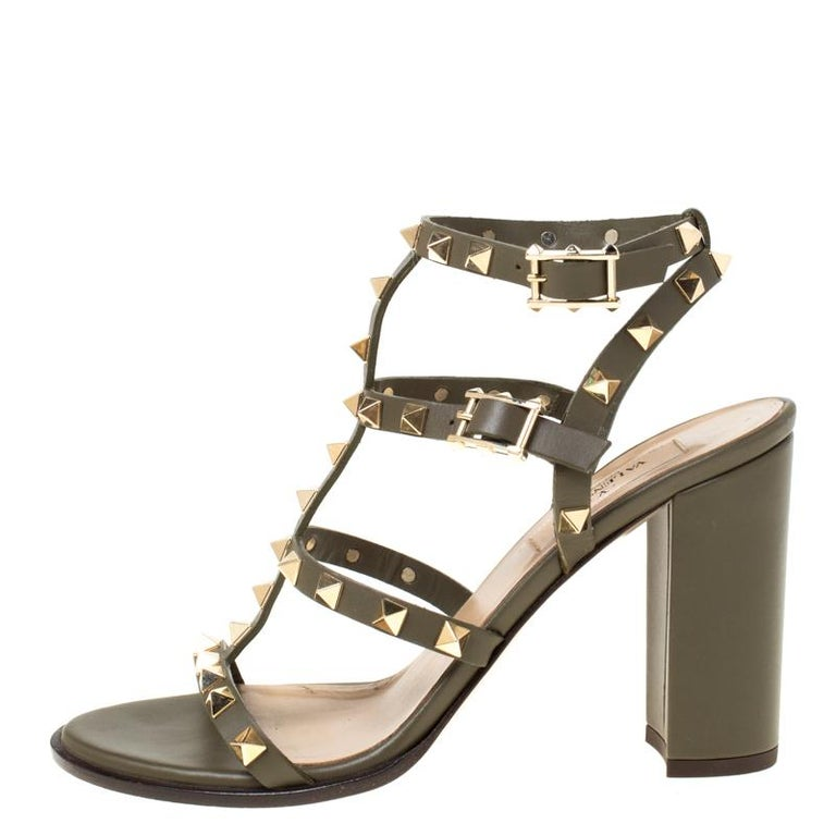Women's Valentino Olive Green Leather Rockstud Caged Sandals Size 37