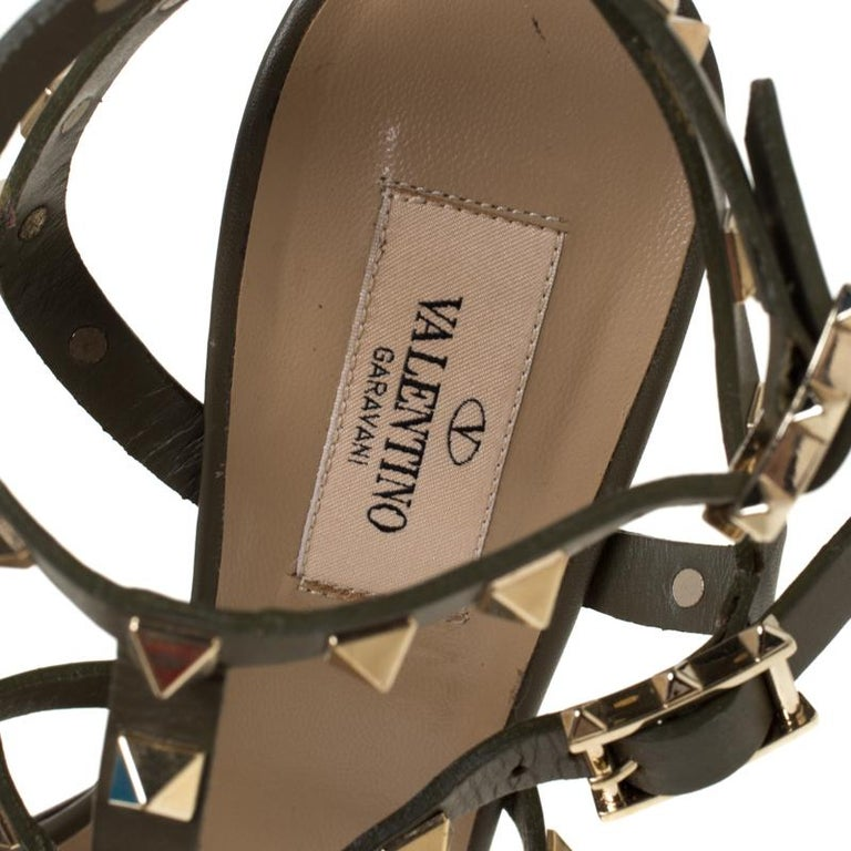 Valentino Olive Green Leather Rockstud Caged Sandals Size 37 1