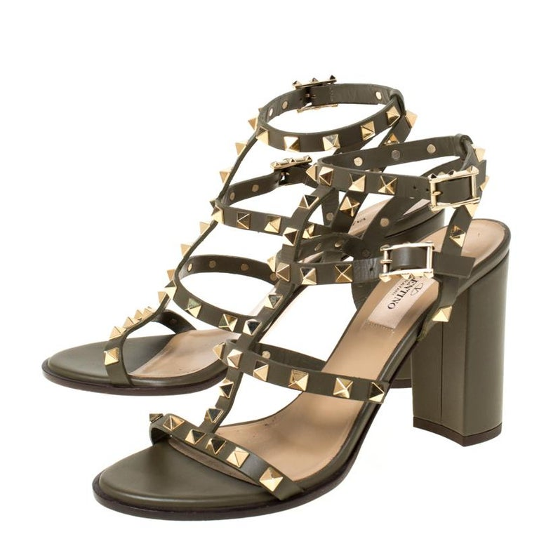 Valentino Olive Green Leather Rockstud Caged Sandals Size 37 2