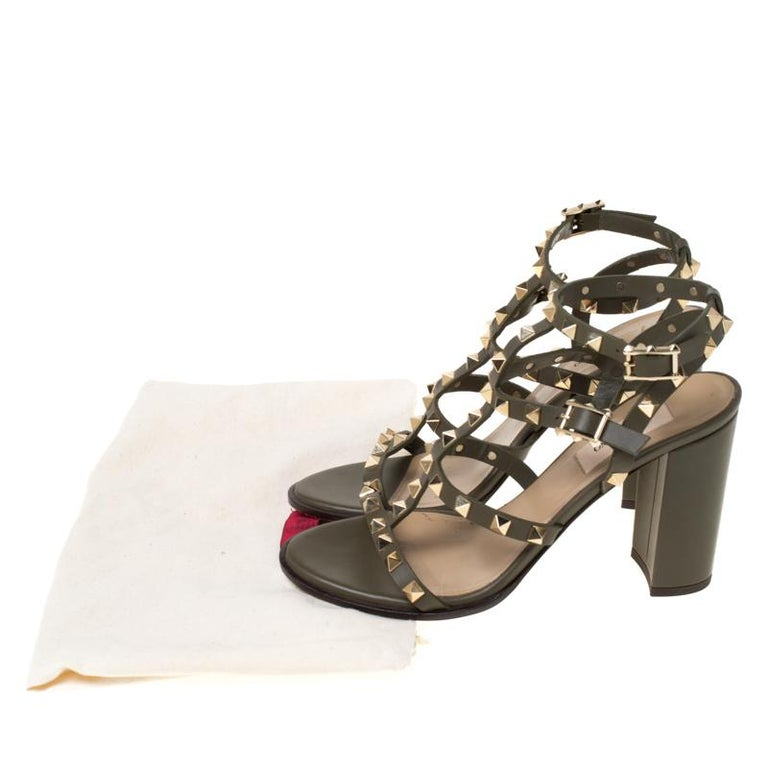 Valentino Olive Green Leather Rockstud Caged Sandals Size 37 3