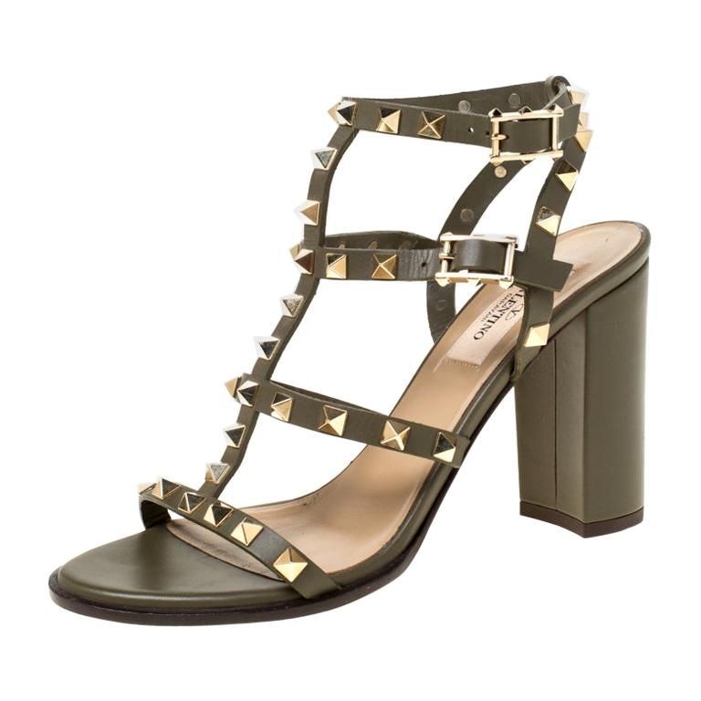 Valentino Olive Green Leather Rockstud Caged Sandals Size 37