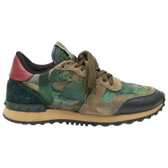 Valentino Olive Green & Multicolor Camubutterfly Rockstud Sneakers