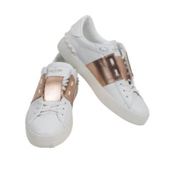 e005cfcc09b1 Valentino Open Sneaker White Leather Rose Gold and Rock Stud 39   9. Valentino  Rockstud Blue Pointed Toe Ballerina Flats