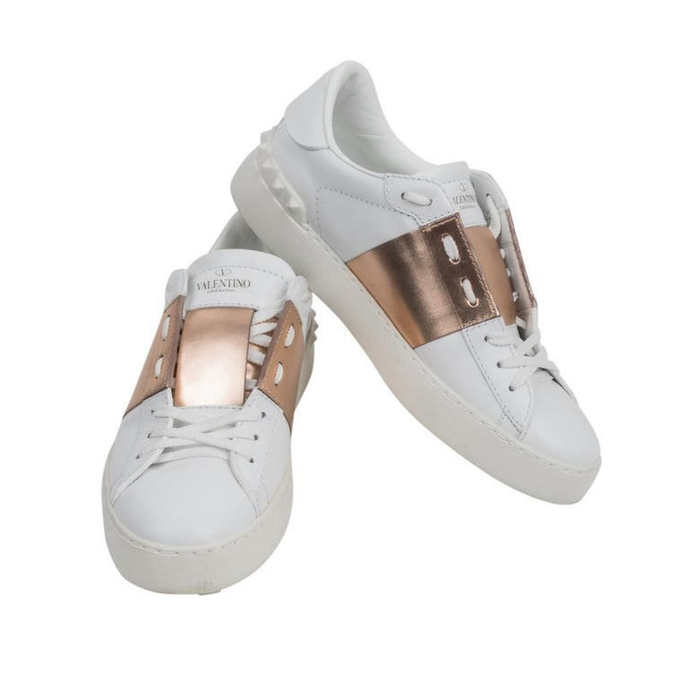 88caf456f668 Valentino Open Sneaker White Leather Rose Gold and Rock Stud 39   9 For Sale