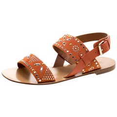 Valentino Orange Embellished Suede Flat Sandals Size 38