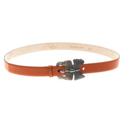 Valentino Orange Leather Crystal Embellished Butterfly Buckle Belt 80 CM