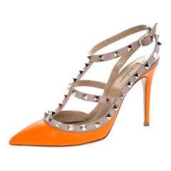 Valentino Orange Leather Rockstud Ankle Strap Cage Sandals Size 37.5