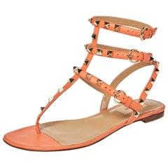 Valentino Orange Leather Rockstud Thong Flat Sandals Size 37