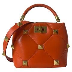 Valentino Orange Leather Roman Stud The Handle Small Bucket Tote Crossbody Bag