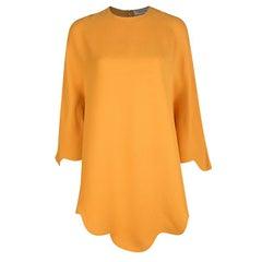 Valentino Orange Silk Scalloped Edge Cady Poncho S