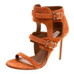 Valentino Orange Suede Buckle Detail Ankle Wrap Sandals Size 39.5