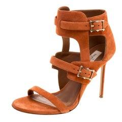 ba5f61773d1 Valentino Tangerine Orange Leather Rockstud Ankle Strap Wedge ...