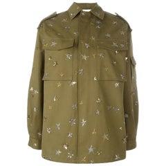 Valentino Oversized Sequin-Embellished Cotton-Twill Jacket