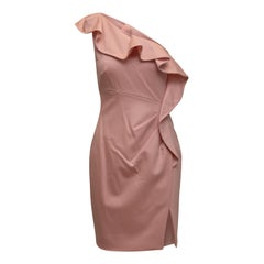 Valentino Pale Pink Technocouture Virgin Wool One-Shoulder Dress