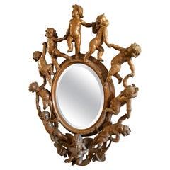 Valentino Panciera Besarel Rare Mirror, Italy, 19th Century