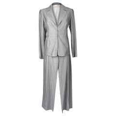 Valentino Pant Suit Gray / White Pinstripe Year Round Fabric 42 / 8