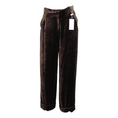 Valentino Pants Brown Silk and Viscose Italian Palazzo Trousers, 1990s