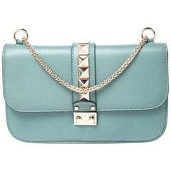 Valentino Pastel Blue Leather Rockstud Medium Glam Lock Flap Bag