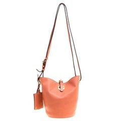 Valentino Peach Leather Eye On You Bucket Shoulder Bag