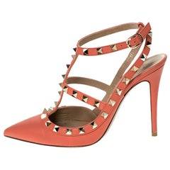 Valentino Peach Leather Rockstud Ankle Strap Sandals Size 38