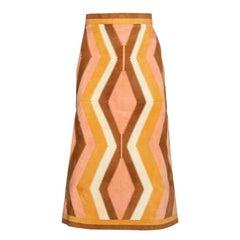Valentino Peach Suede Patchwork Midi Skirt S