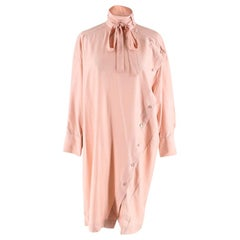 Valentino Pink Asymmetric Button Detail Shirt Dress - Size US 00