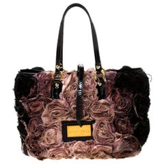 Valentino Pink/Black Silk and Patent Leather Organza Rosier Tote