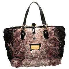 Valentino Pink/Black Silk Organza and Patent Leather Rosier Tote