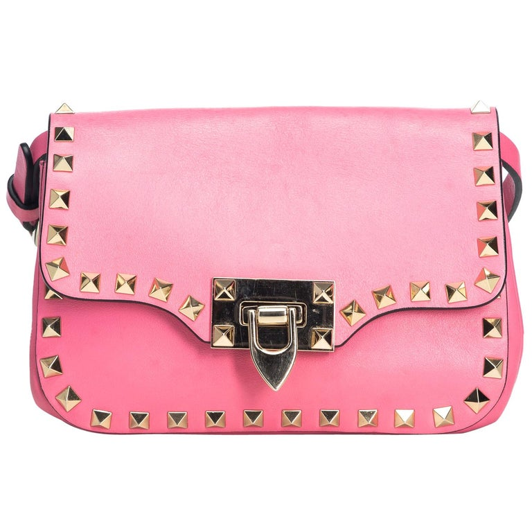 71647d60a3 Valentino Pink Calf Leather Small Rockstud Crossbody Bag Italy w/ Dust Bag  For Sale