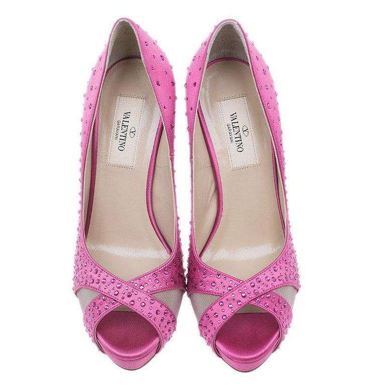 Valentino Pink Crystal Satin Criss Cross Platform Pumps Size 36