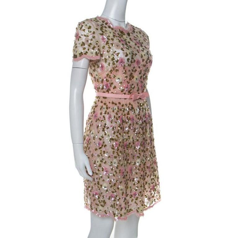 Brown Valentino Pink Floral Embellished Tulle Belted Dress S For Sale