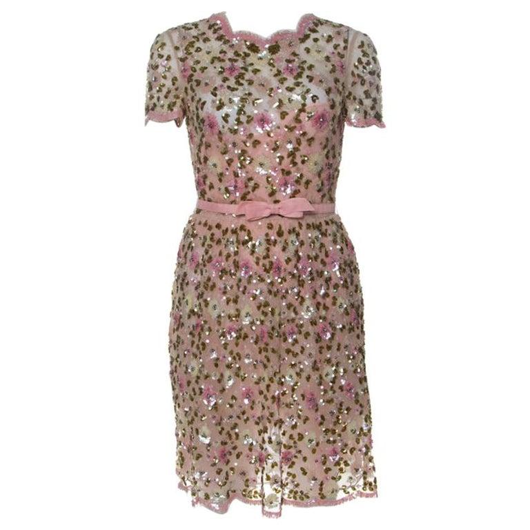 Valentino Pink Floral Embellished Tulle Belted Dress S For Sale