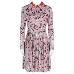 Valentino Pink Floral Print Contrast Applique Collar Pintuck Detail Dress S