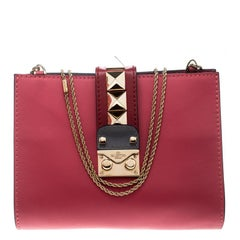 Valentino Pink/Green Leather Chain Clutch