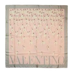 Valentino Pink Grey Silk Scarf w/ Snowdrop Flower Print  rt. $450