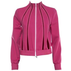 Valentino Pink Jersey Panelled High Neck Track Jacket S