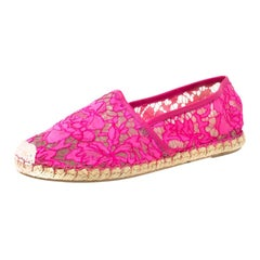 Valentino Pink Lace Espadrille Flats Size 40