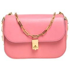 Valentino Pink Leather Flap Shoulder Bag
