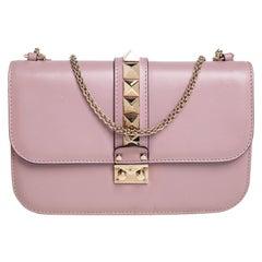Valentino Pink Leather Medium Rockstud Glam Lock Flap Bag