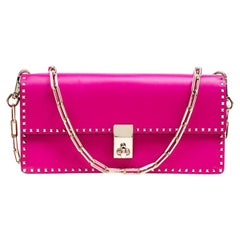 Valentino Pink Leather Micro Rockstud Chain Clutch