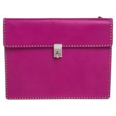 Valentino Pink Leather Mini Studs Trim Clutch