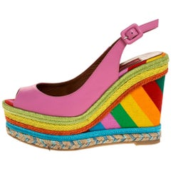 Valentino Pink Leather Multicolor Wedge 1973 Espadrille Sandals Size 36