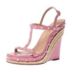 Valentino Pink Leather Rockstud T Strap Espadrille Wedges Sandals Size 41
