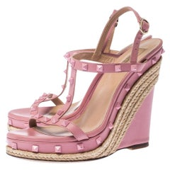 Valentino Pink Leather Rockstud T Strap Espadrille Wedges Sandals Size 41