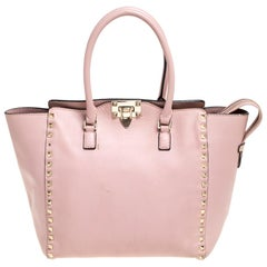 Valentino Pink Leather Rockstud Trapeze Double Handle Bag